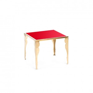 astaire table gold red plexi