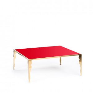 carlton table gold w_ astaire legs red plexi