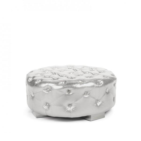 Bernhardt Round Ottoman silver