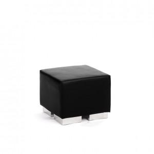 cube square ottoman black