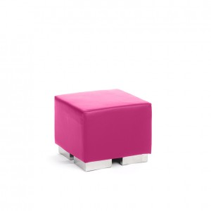cube square ottoman fushia