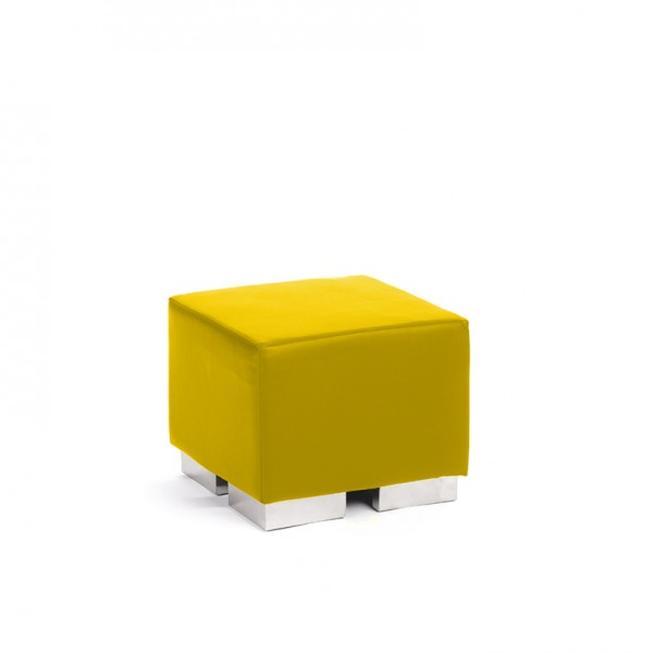 cube square ottoman lemon yellow