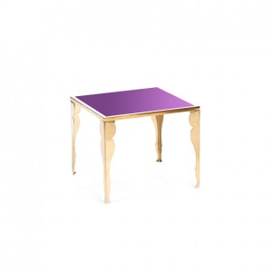 astaire table gold purple plexi