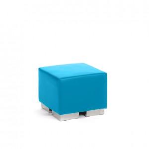 cube square ottoman cyan blue