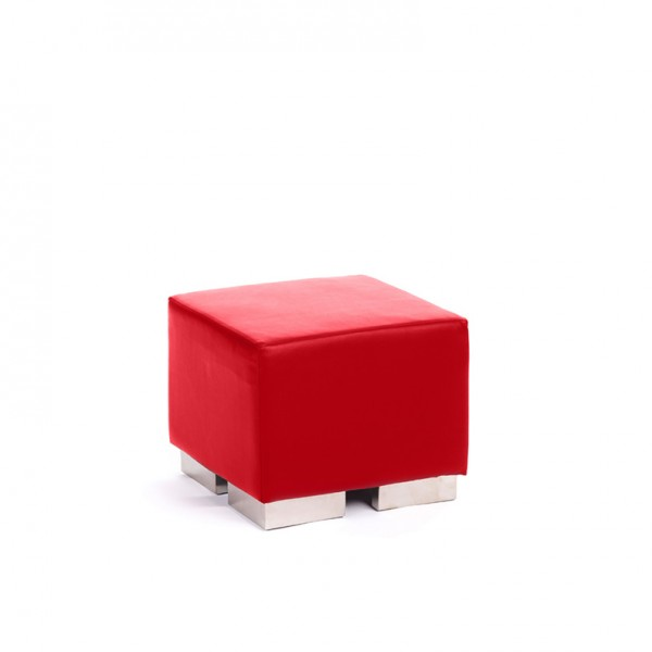 cube square ottoman red